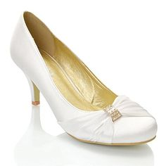 b1d80ffa342 NEW WOMENS LOW HEEL SATIN DIAMANTE BUCKLE LADIES BRIDAL EVENING PARTY PROM  BRIDESMAID COURT SHOES 3-8  Amazon.co.uk  Shoes   Bags
