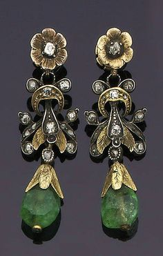 A pair of late century emerald and diamond earpendants Each textured flower surmount set with a single-cut diamond, suspending a stylised foliate cartouche of similarly cut stones, terminating in an emerald bead drop, later post fittings, length Jade Jewelry, Emerald Jewelry, Bridal Jewelry, Jewelry Art, Victorian Jewelry, Antique Jewelry, Vintage Jewelry, Art Deco Diamond, Diamond Brooch