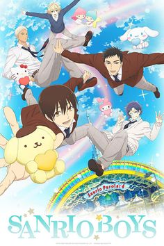 A new key visual shows the cast of Sanrio Boys falling in love with Hello Kitty, Pompompurin, and other Sanrio mascot characters. Sanrio Boys is a mixed media project that includes Anime Boys, Manga Anime, Art Manga, Sanrio Hello Kitty, Little Twin Stars, Anime Kawaii, Anime Chart, Poster Wall, Poster Prints