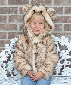 Look at this Lilly Patricia Crystal Fox Faux Fur Hooded Jacket - Toddler & Girls on today! Faux Fur Hooded Jacket, Mini Me, Little Princess, Tween, To My Daughter, Toddler Girls, Hoods, Kids Outfits, Kids Fashion