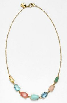 A must for spring! Multicolored stone necklace.