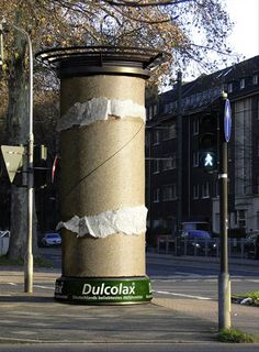 Dulcolax ad with empty oversized toilet paper roll... this' clever advertising - and hilarious!