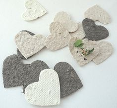 Seed Paper Hearts  cream white ivory brown diy by naturefavors, $15.95