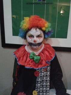 Turn away if you are afraid of clowns!  Katie really looks scary in this fantastic clown costume!