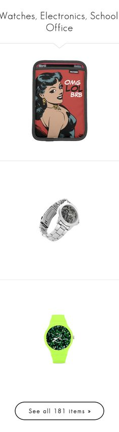 """""""Watches, Electronics, School, Office"""" by heartofcandy ❤ liked on Polyvore featuring accessories, tech accessories, ipad mini cover case, ipad mini sleeve case, ipad sleeve case, comic book, red ipad case, jewelry, watches and stainless steel watches"""