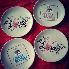 Ontbijt/lunchbordjes #DIY #creatief #creative #porcelainpainting #porseleinverf