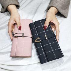 92136fb18 AOEO mujeres carteras larga con Plaid PU cerrojo de cuero de moda bolso del  teléfono monedero 10 portatarjetas cartera femenina para las señoras de las  ...