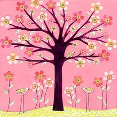 Children Decor, Pink Bird Tree Art Print, Baby Nursery Decor, Children Room Decor, Large Poster Print