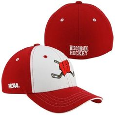 Zephyr Wisconsin Badgers Freeze Hockey Z-Fit Hat - Cardinal/White