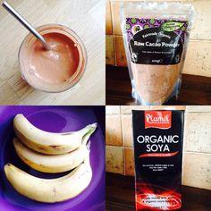 healthy chocolate & banana milkshake soya milk, cacao, organic lylia rose blog post recipe blogger