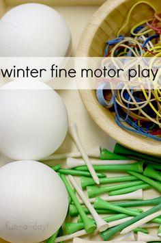 "Winter Fine Motor Play with Styrofoam ""Snowballs"""