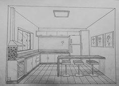 Desenho a mão de cozinha com 1 ponto de fuga.