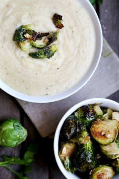 Potato and Leek Soup with Roasted Garlic Brussels Sprouts