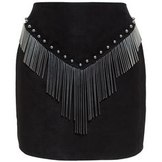 Anthony Vaccarello Metallic Studded Fringed Skirt ($2,022) ❤ liked on Polyvore featuring skirts, black, black knee length skirt, black skirt, anthony vaccarello, black fringe skirt and fringe skirt