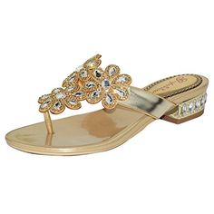 141cd21d770 Wawoo Roman Style Rhinestones Flip Flops for Women Thong Sandals Lowheel  Toe Strap   Want to