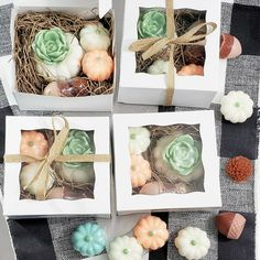 """""""Our favorite fall soap gift box.🍂 Even the acorns and pinecones are made out of soap!🧼#sunbasilsoap"""" Fall Birthday, Birthday Favors, Unicorn Birthday Parties, Cactus Gifts, Succulent Gifts, Cactus Wedding, Bridesmaid Proposal Box, Thanksgiving Gifts, Spa Gifts"""