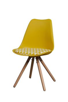 Set of 2 Reno Yellow Check Chair - Wooden legs
