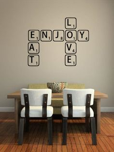 Game Tiles  -Vinyl Decal/Stickers - This is cute....not the table but the tiles on the wall