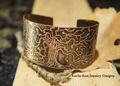 Etched copper cuff  Karla Rae Jewelry Designs  https://www.facebook.com/#!/karlaraejewelrydesigns