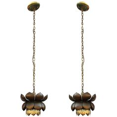 Pair of Brass Lotus Pendants by Fledman | From a unique collection of antique and modern chandeliers and pendants at https://www.1stdibs.com/furniture/lighting/chandeliers-pendant-lights/