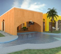 Club House and swimm-up bar. Hacienda del Rio. Playa del Carmen real estate