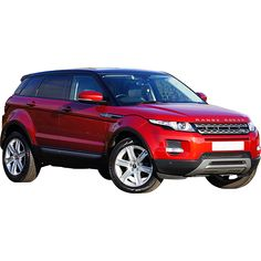 This is a photo of a bright red sport utility Range Rover taken from a front view.