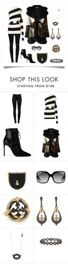 """""""Party Time"""" by karen-galves on Polyvore featuring J Brand, Norma Kamali, Yves Saint Laurent, Alessandra Rich, Gucci and Armenta"""