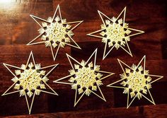 Set of 5 traditional German straw stars