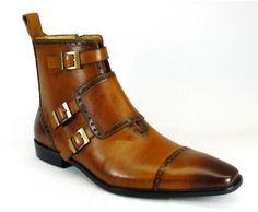 Carrucci Cognac 3-Monk Strap Boot #Carrucci #DressBoots