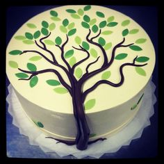 Tauftorten Tree Cake Producing Ones Very Own Fresh Flowers At Ones House When Valentine's Day, or an Family Reunion Cakes, Family Tree Cakes, Cupcake Shops, Cupcake Cakes, Adoption Cake, Fondant Tree, Piece Of Cakes, Savoury Cake, Creative Cakes