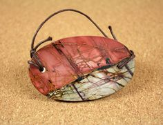 Red Creek Jasper Oval Tablet Pendant  Red Pink and by ABOSBeads