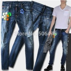 Fashion DSQ Brand Men's Jeans Casual Cotton Skinny Denim Straight men's D2 Jeans washed Simple cozy jeans Free shipping $48.50