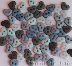 VINTAGE LINEN - MICRO MINI Hearts Grey Brown Lilac Sew Dress It Up Craft Buttons