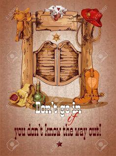 Manifesto selvaggio della porta del salone di ovest con l illustrazione di  vettore della sella del cappello degli stivali di cowboy 661039dd9edd