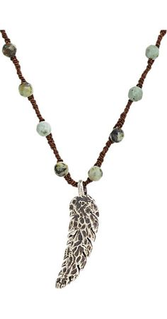 Feathered Soul Oxidized Silver Feather on Turquoise Bead & Silk Cord -  - Barneys.com