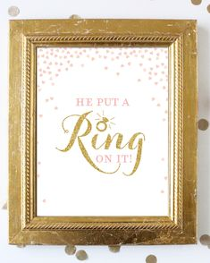 Excited to share the latest addition to my #etsy shop: Pink and Gold He Put a Ring on it . Bridal Shower Sign 8x10 . Bachelorette Party .  Hens Party Sign . Printable Digital Instant Download