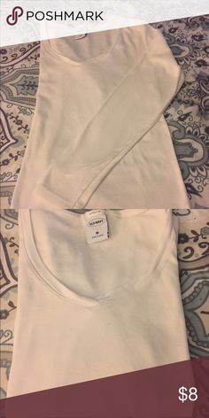 """White""""perfect fit"""" T Long sleeve footed v-neck tshirt. Worn, washed, and shrunk😢. Fits like a small! Old Navy Tops Tees - Long Sleeve"""