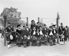 Burns Club, Highland gathering at Camberra Acton Sports Ground, 1926 - Junior dancers and pipers, McCorchindale was the piper.