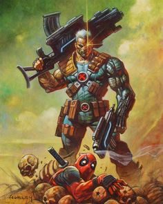 Cable and Deadpool Art by Alex Horley Marvel Comic Character, Comic Book Characters, Marvel Characters, Comic Books Art, Character Art, Arte Dc Comics, Marvel Comics Art, Marvel Heroes, Marvel Xmen