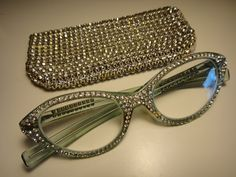 SALE   Vintage 1950's Encrusted Rhinestone Glasses Cat's Eye Frame with Austria Rhinestone Case. .