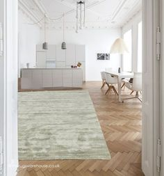 Annapurna Green Rug, a  handmade luxury plain viscose rug in light green http://www.therugswarehouse.co.uk/green-rugs/annapurna-green-rug.html #rugs #interiors http://www.contemporaryrugs.eu/