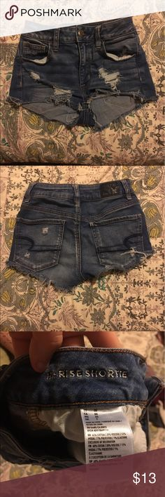 American eagle shorts Super cute and barely worn! High rise shortie! American Eagle Outfitters Shorts Jean Shorts