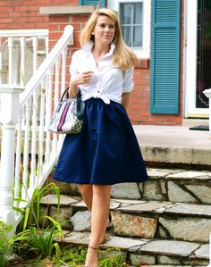 navy + white ladylike look featuring an #nsale skirt!