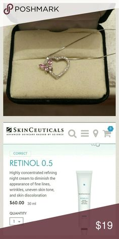 Tiffany heart diamond necklace +SkinC. Retinol 0.5 More photos of authentic Tiffany butterfly heart diamond necklace + Skinceuticals pure retinol 0.5% vitamin A used 20%, approx. 80% left.   To purchase see my closet for Skinceuticals listing with more details about the product + add anymore items if like for bundle discounts etc.  5 star rated seller. Tiffany & Co. Accessories