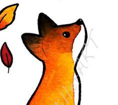 El zorro y las hojas  5 x 7 lámina de arte por audreymillerart