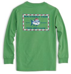 Southern Tide, Kids Candy Cane Skipjack Long Sleeve T-Shirt, Green Spruce, XS