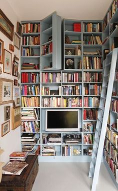 Hidden door up high on the shelves. Fun...