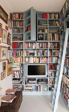 Hidden door up high on the shelves. Fun...