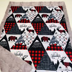 Your place to buy and sell all things handmade Minky Baby Blanket, Baby Boy Blankets, Diy Blankets, Plaid Nursery, Nursery Boy, Boys Quilt Patterns, Plaid Quilt, Woodland Baby, Woodland Decor