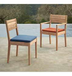 Overlook arm chair. Wooden chair. Rejuvenation chair. Modern silhouette chair. Timeless update to any outdoor space. Teak wood. Durable outdoor chair. Indoor outdoor chair. Patio decor.